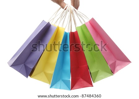 Gift packages in a hand - stock photo