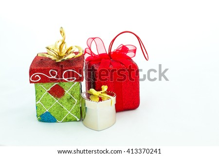Gift packages in box and oval shaped, are prepared for special occasions such as the Christmas and New Year's. Unwrapping gift packages always be excited. - stock photo