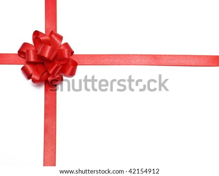 Gift packaging with red ribbons and bow - stock photo