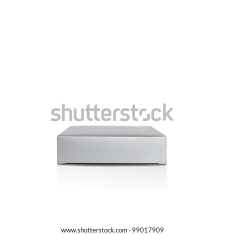 Gift paper box isolated on white background with reflection, silver color, package, recycle - stock photo