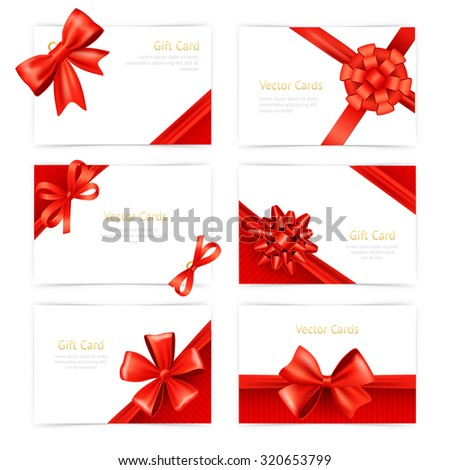 Gift paper cards set with red silk ribbon decoration isolated  illustration