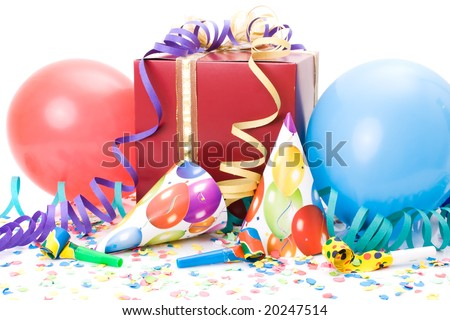 Gift, party hats, horns or whistles, confettis and balloons on white background.