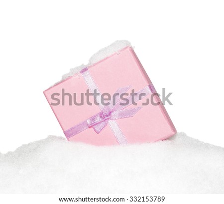 Gift pink box with  bow on snow,  snow-covered, snowy, isolated on the white - stock photo