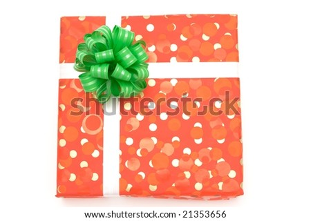 Gift: Red box with green bow