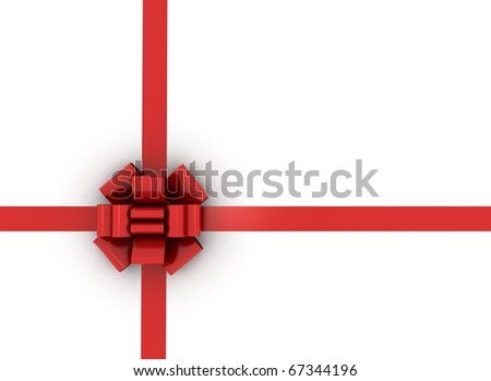 Gift red ribbon and bow isolated on white - stock photo