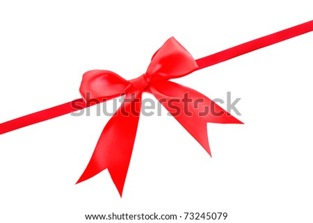 Gift red ribbon and bow isolated on white background - stock photo