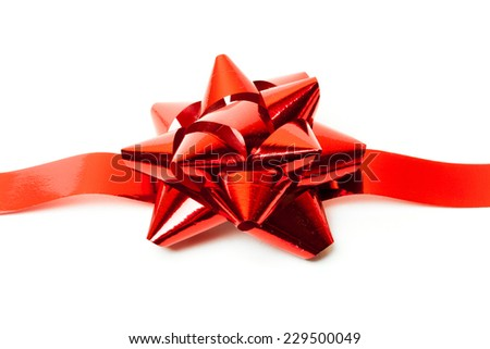 Gift red ribbon and bow isolated on white. studio shot