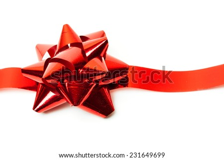 Gift red ribbon and bow isolated on white. studio shot - stock photo
