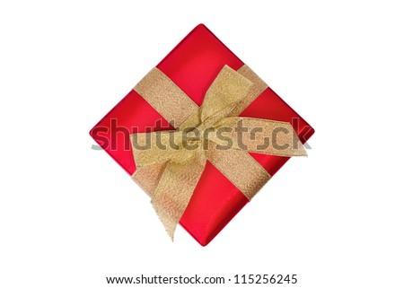 Gift red square box with gild ribbon closeup - stock photo