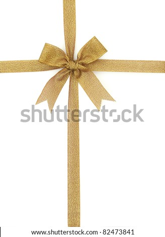 gift ribbon and bow Isolated on white background - stock photo