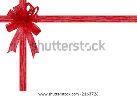 Gift ribbon and bow on a white background with clipping path
