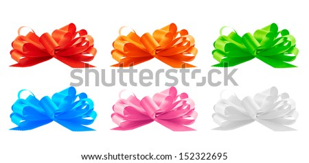 Gift ribbon bow set isolated, side view, set of six colors - stock photo
