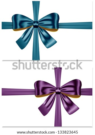 Gift ribbon bows for festive decorations. Gift cards
