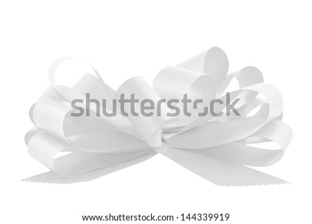 Gift ribbon glossy white bow isolated over white background, side view - stock photo