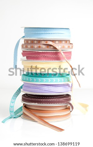 Gift ribbons collection used for home decor and craft projects. - stock photo