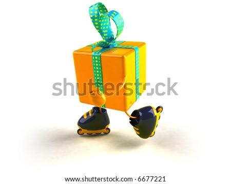 Gift rollerskating - stock photo