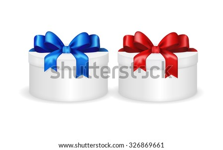 Gift round box with red and blue ribbon and bow. Christmas gift. Raster version. Isolated on white.