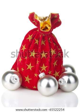 gift sack and silver balls isolated - stock photo