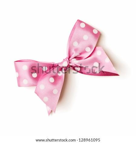 gift satin ribbon bow on white background - stock photo