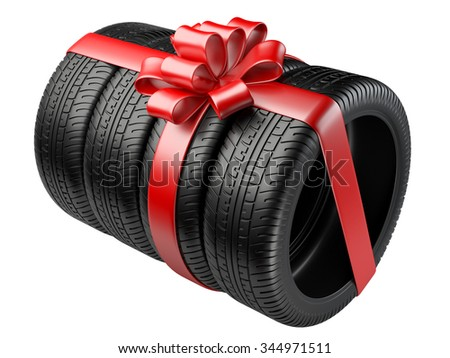 Gift set four tyres with a wrapped red ribbon and bow. 3D illustration  isolated on white background. - stock photo
