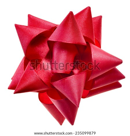 gift shining red ribbon bow isolated on white background - stock photo