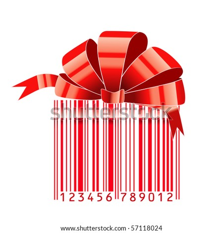 gift stylized with bar-code.raster - stock photo