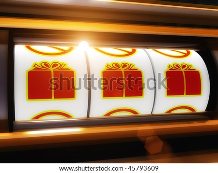 Gift surprise present jackpot slot machine illustration - stock photo