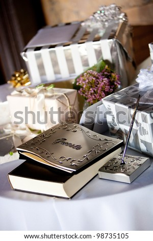 gift table and guest book during a wedding reception - stock photo