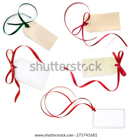 Gift tags collection, isolated on white.  Red and green festive ribbons. - stock photo