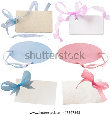 gift tags for baby boys and baby girls - stock photo