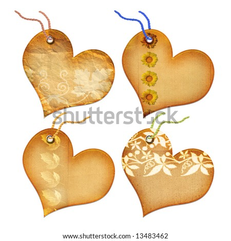 Gift tags in the form of heart. Isolated on a white background