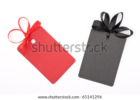 Gift tags with bows - stock photo