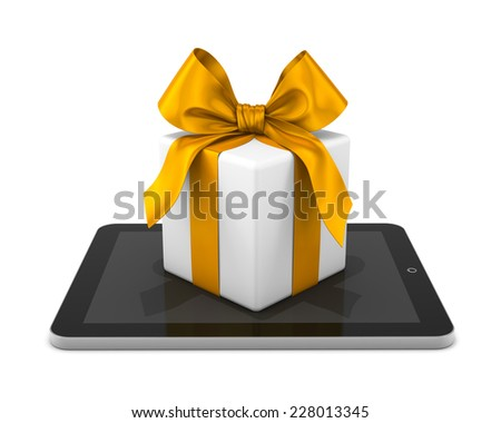 gift that come from a tablet, xmas shopping online - stock photo