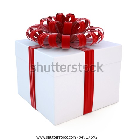 gift tied with red ribbon and bow. isolated on white.