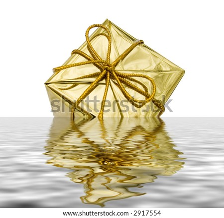 Gift to Christmas as a brilliant box in water - stock photo
