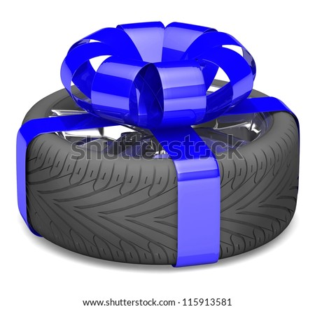 gift wheel, tied with a blue ribbon as a gift. illustration on white. - stock photo