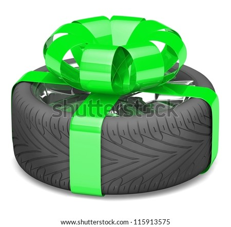 gift wheel, tied with a green ribbon as a gift. illustration on white. - stock photo