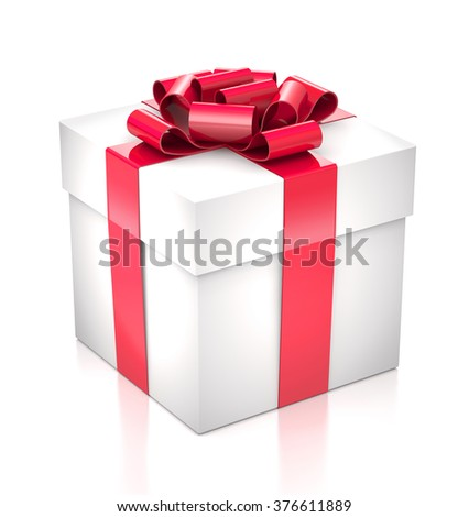 Gift white box with a red bow and ribbon on white background. - stock photo