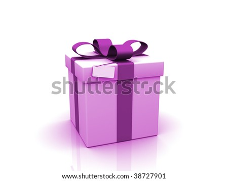 Gift with blank card on white background.