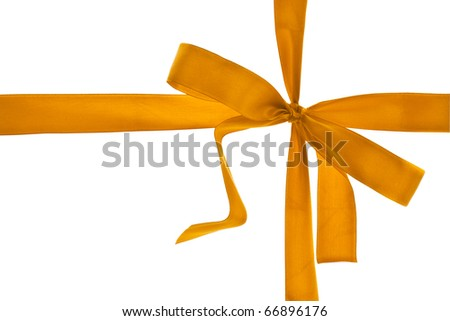 Gift with golden ribbon isolated on white background
