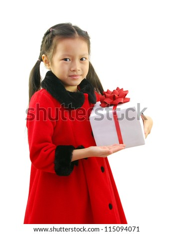 Gift with little girl in Santa claus clothes isolated on white - stock photo