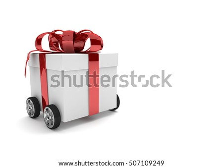 Gift with red ribbon and wheels on the white. 3d illustration.