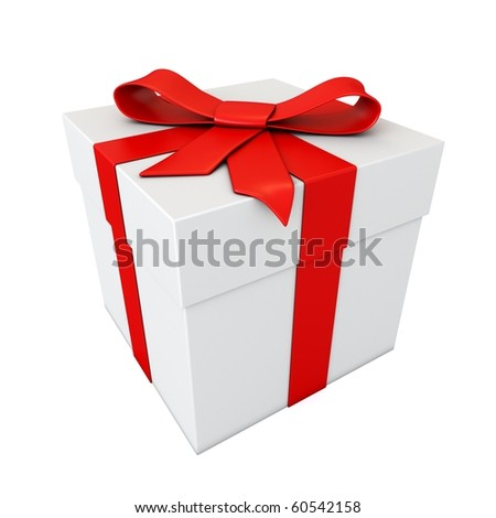 gift with red ribbon isolated on white - stock photo