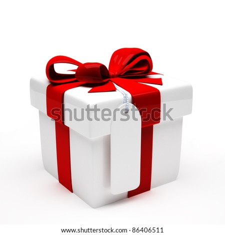 Gift with red ribbon on white background. 3d illustration
