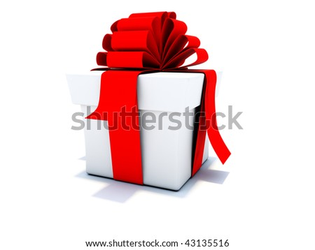 Gift with red ribbons isolated on white