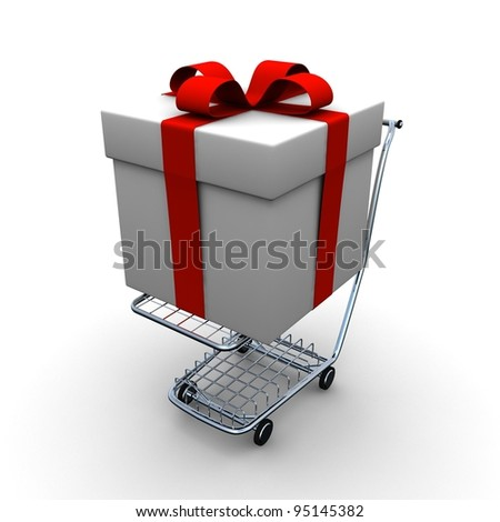 Gift with red ribbons on shopping cart - stock photo