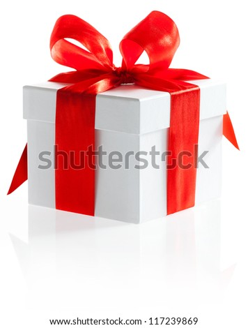 Gift with ribbon and bow isolated on the white background