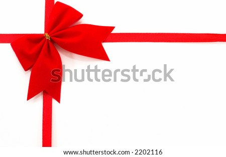 Gift wrap on a white background, top view, horizontal orientation, tilted bow. - stock photo