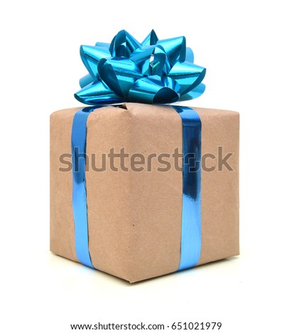 Gift wrapped blue ribbon with bow, isolated on white, Christmas box