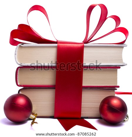 gift wrapped books for Christmas - stock photo